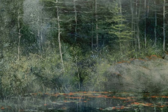 TM8586 Drizzly Day - detail from far bank, center of painting