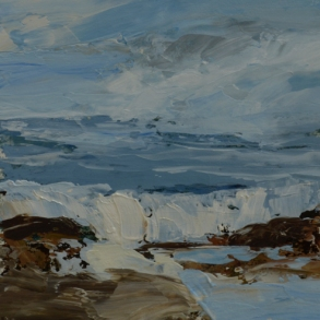 SOLD TM8674 Watching the Waves Come In #174 6x6 oil