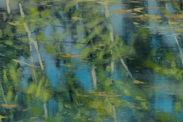 TM8688 Rejoice - detail from left of center with reflected trees and floating vegetation