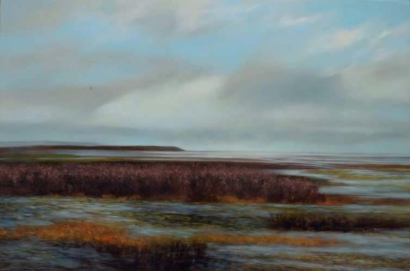 TM8691 Out on the Clam Flats 36x54 oil on panel
