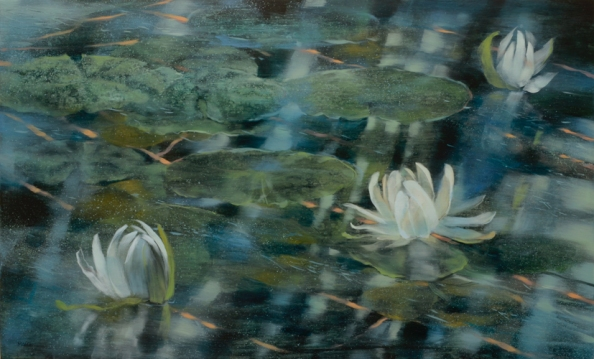 nc web TM8699 Lily Pond 18x30 oil on panel