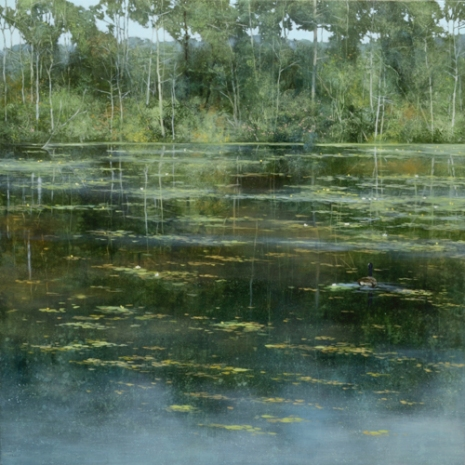 TM8707 Quiet Afternoon at the Pond 36x36 oil on panel