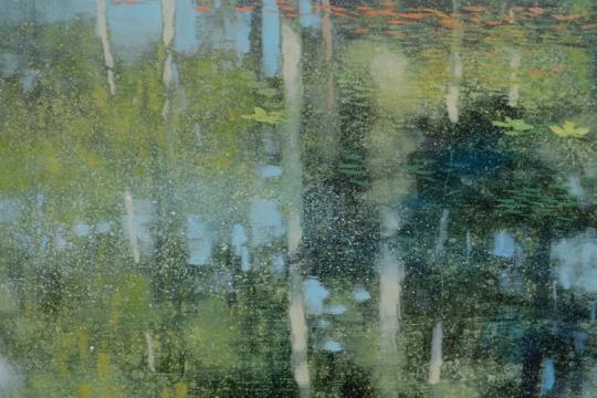 TM8710 Meditation on Floating Pine needles #2 - detail from left of center