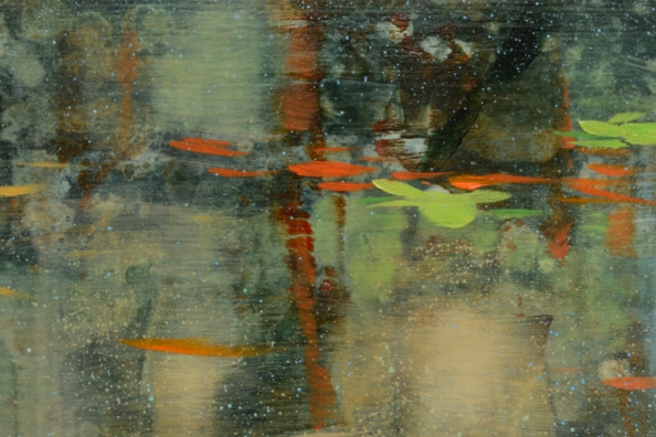 TM8729 August Afternoons - detail from upper right quadrant showing layered base textures overpainted with glazes and spatter