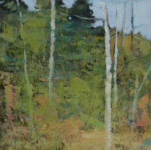 TM8752 Into the Woods #18 6x6 oil on paper