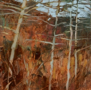 TM8754 Into the Woods #20 6x6 oil on paper