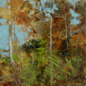 TM8773 Into the Woods #32 6x6 oil on paper