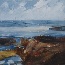 TM8821 A Day at Bass Rocks #34 6x6 oil on paper