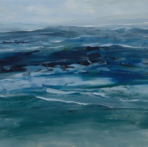 TM8827 Watching the Waves Roll In #187 6x6 oil on paper