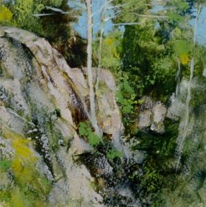 TM8835 Friday Morning at Shining Rocks 6x6 oil on paper