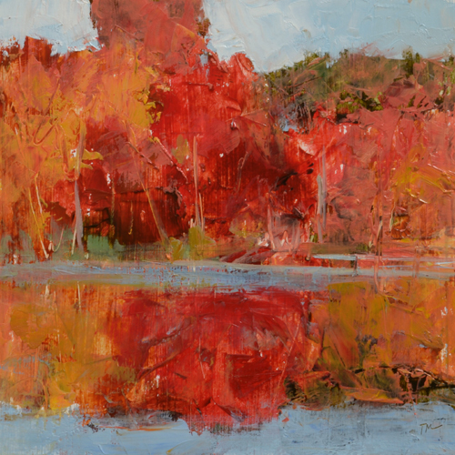 TM8855 Wayland Pond 6x6 oil on paper