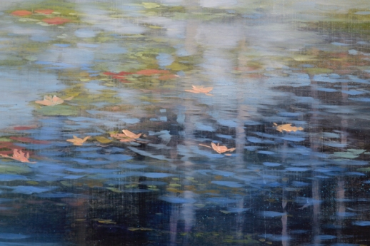 TM8373 Pond Poem - detail from just above center right with floating leaves and luminous cloud reflections