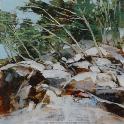 TM8852 Snowfall at Purgatory Chasm 6x6 oil on paper