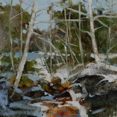 TM8862 White Mountain WInter #1 6x6 oil on paper