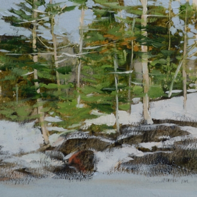 TM8863 White Mountain WInter #2 6x6 oil on paper