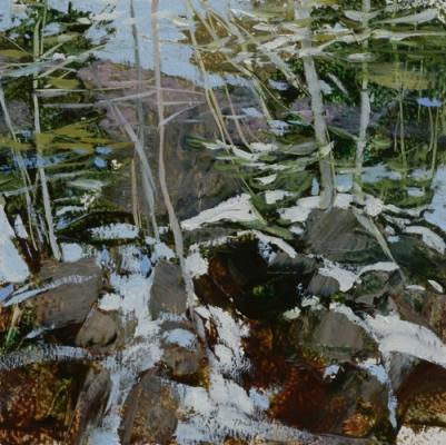 TM8864 White Mountain WInter #3 6x6 oil on paper
