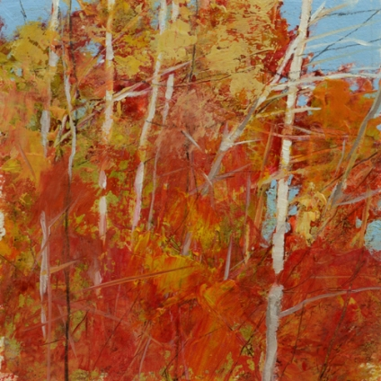 TM8871 October's Red 6x6 oil on paper
