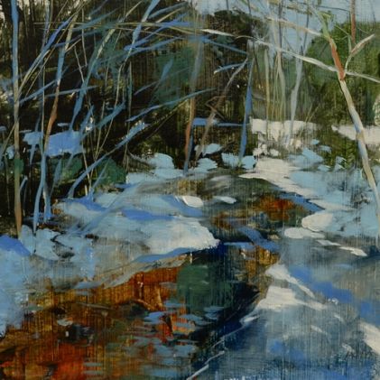 TM8879 WInter in the Woods #1 6x6 oil on paper