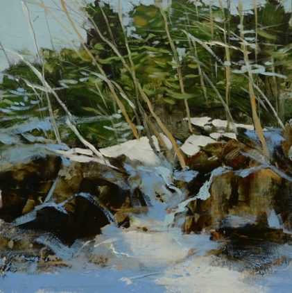 TM8880 White Mountains Winter #4 7x7 oil on paper