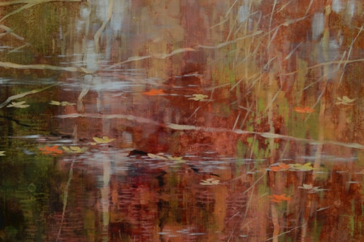 TM8885 The Russet Afternoons - detail from above center with reflections and floating leaves