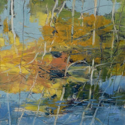 TM8890 The Pond Speaks Sweetly with the Sun 7x7 oil on paper