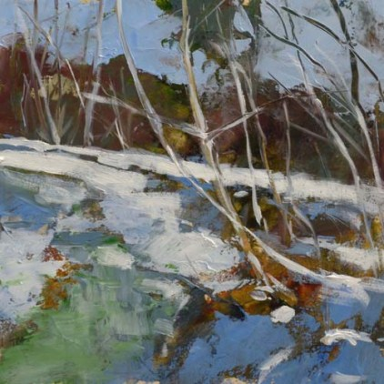 TM8909 Frozen Creek #1 6x6 oil on paper
