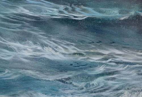 TM8922 The Restless Waves - detail from lower right quadrant showing layered glazes and brushwork, use of scraping into wet glazes