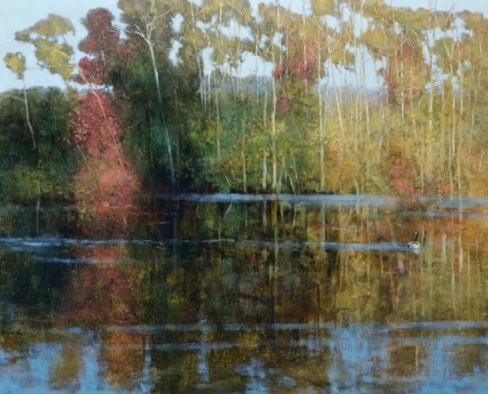 TM8940 Quiet Day at the Pond 36x44 oil on panel