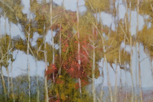 TM894 - Quiet Day at the Pond - detail looking through screen of trees to distant ridge
