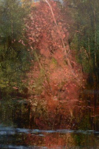 TM8940 Quiet Day at the Pond - detail showing autumn tree reflected in the water