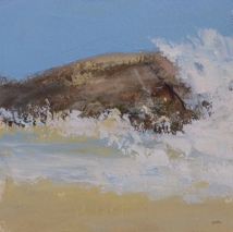 TM9021 Watching the Waves Roll In #211 7x7 oil on paper